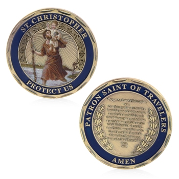 St. Christopher Commemorative Coin Patron Saint Of Travelers Commemorative Challenge Coin Collection Non Currency Coin saint michael the archangel commemorative challenge coins collection token art