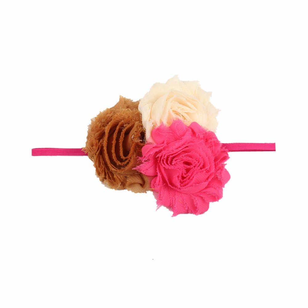 ใหม่ 1 Pcs หญิง Headband ทารกแรกเกิดที่สวยงามเด็กผู้หญิง Hairband 3 สีดอกไม้ชีฟองสายรัดเด็กอุปกรณ์เสริมผม