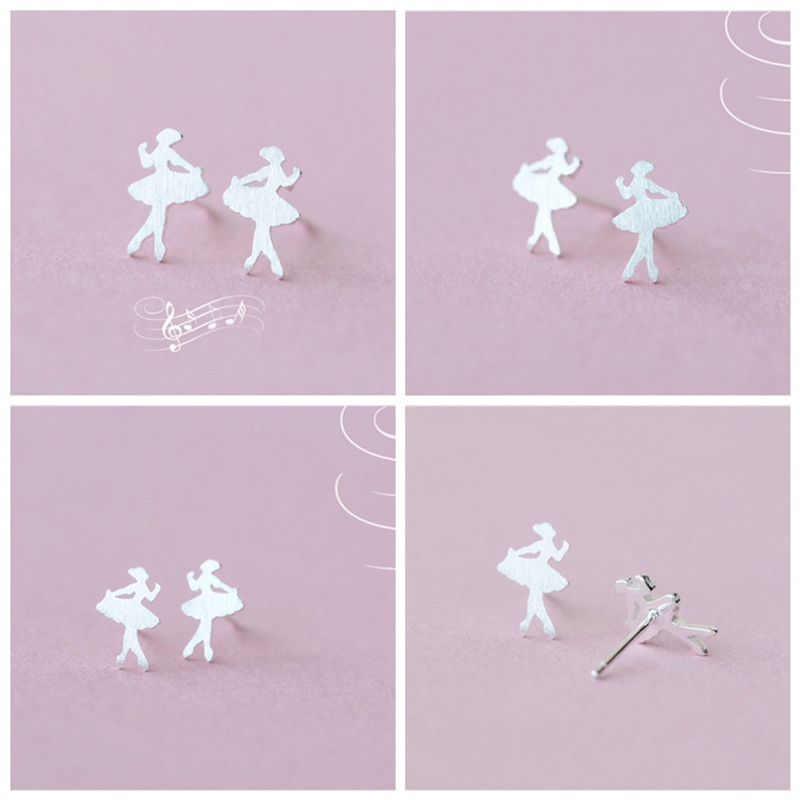 Ballet Dancer Girl With Earrings For Women Girls Dating Special Cute - Brushed Silver COLOR