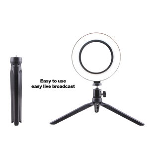 Image 4 - צילום איפור מנורת מראה LED Selfie אור 260MM Dimmable איפור מצלמה טלפון מנורת עם שולחן חצובות טלפון בעל stand
