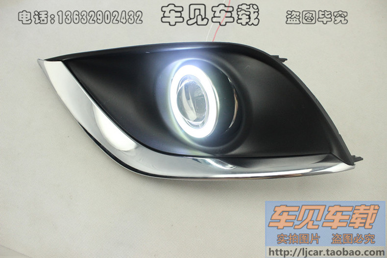 LED DRL daytime running light COB angel eye, projector lens fog lamp with cover for nissan versa sunny 2014-15, 2 pcs ownsun innovative super cob fog light angel eye bumper cover for skoda fabia scout