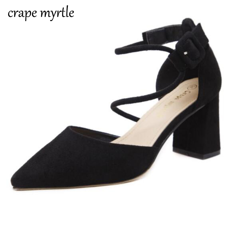 shoes Woman Classic Low Thick Block Heels Dress Slingback Pumps Pointed Toe high heels Square Ankle Strap Causal Shoes YMA25