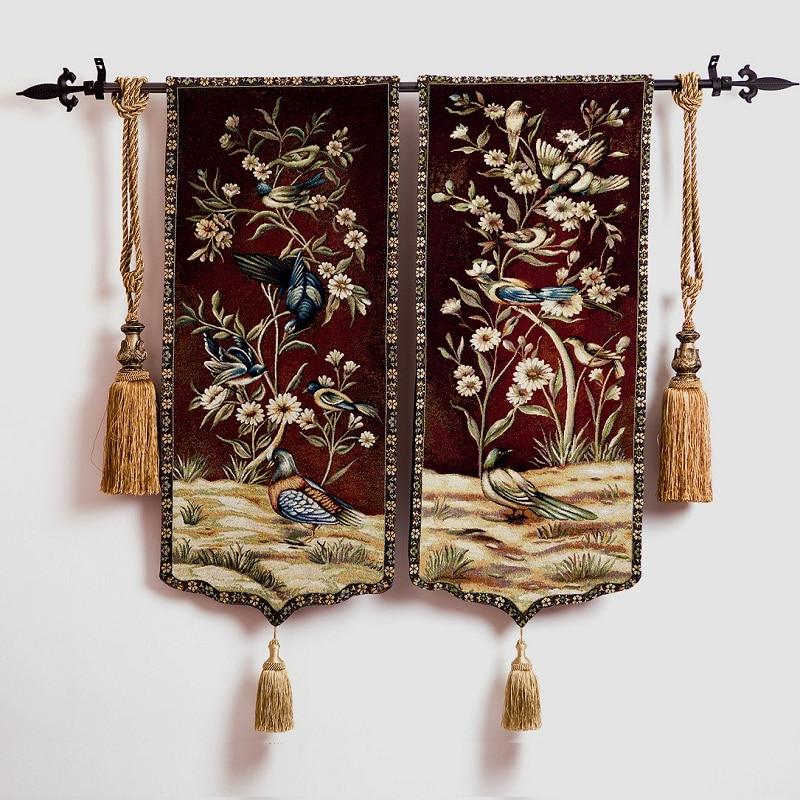 Flybird e fiore una coppia 100x45 cm tessili per la casa Medievale aubusson appeso a parete arazzo pt-722