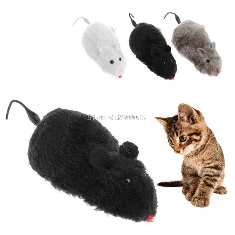 Funny Running Mouse Cats Toys Clockwork Wind Rat Move Tail Cat Kitten Prank Toy Gift Drop Ship