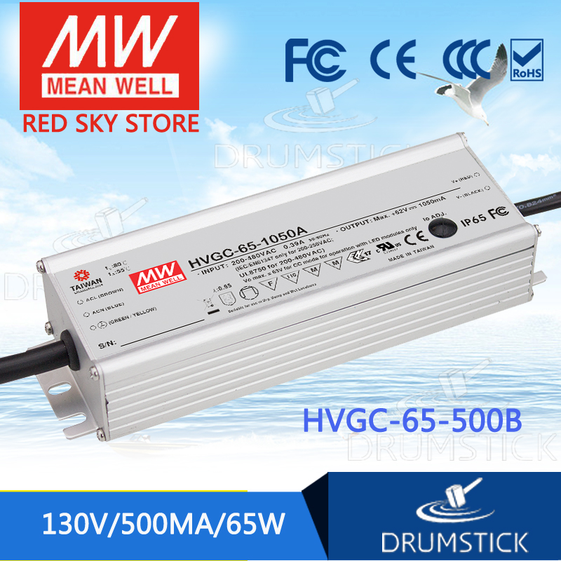 MEAN WELL HVGC-65-500B 13 ~ 130V 500mA meanwell HVGC-65 65W Single Output LED Driver Power Supply B Type цена
