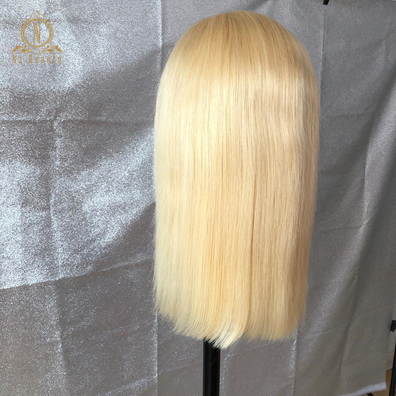 HTB1GzbAPgHqK1RjSZFEq6AGMXXaA 613 Short Bob Wigs 1B 613 Ombre Honey Remy Pre Plucked Straight 13x6 Blonde Lace Front Human Hair Wig for Women Natural Black