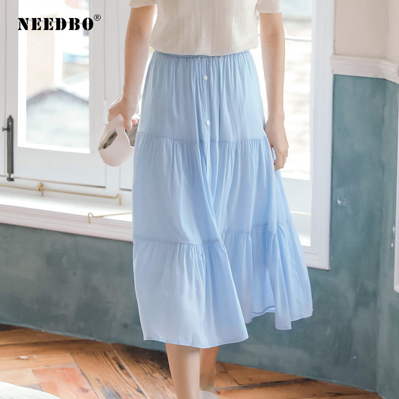 NEEDBO Pleated Skirt Midi Solid Long Skirts Plus Size Lady Elastic Waist Beach Casual Women Summer WS25880