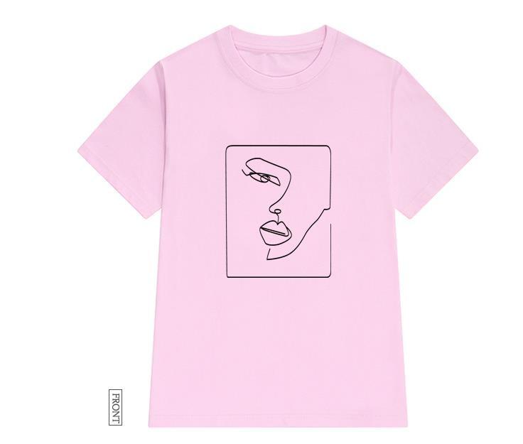 Twarz streszczenie prosta koszulka damska bawełna Casual Funny t shirt prezent dla pani Yong dziewczyna koszulka Drop Ship S-723 3