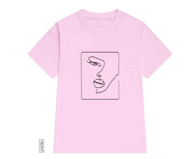 얼굴 추상 간단한 여성 tshirt 코 튼 캐주얼 재미 있은 t 셔츠 선물 레이디 용 소녀 탑 티 드롭 선박 S-723