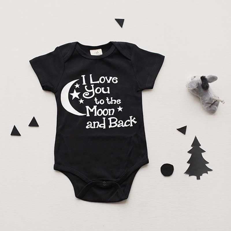 בגד גוף תינוק בני בנות בגדים אני אוהב אותך לירח ובחזרה שחור יילוד תינוק Babygrow Playsuits בגדי Bodysuits 0-24 M