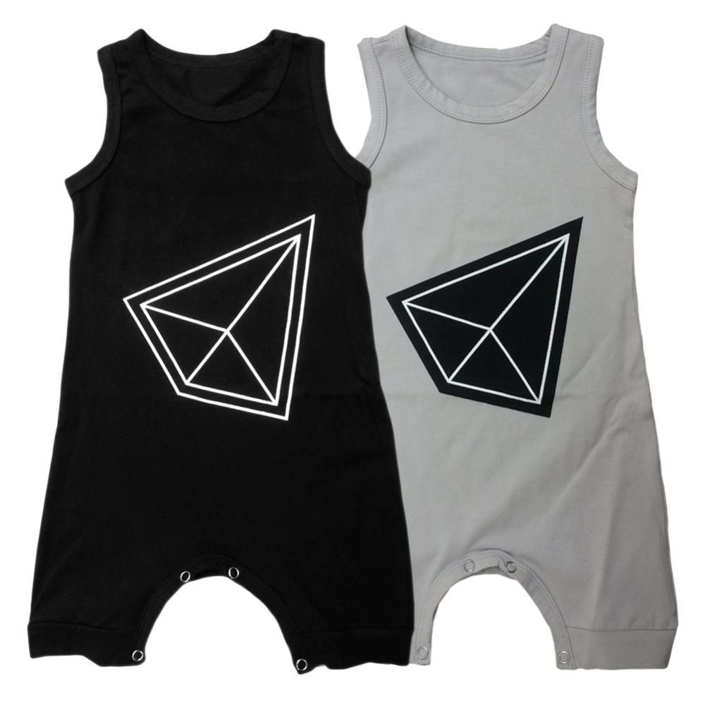 0-24M Summer Newborn Baby Sleeveless Vest Rompers Cotton Geometric patterns jumpsuit onepiece Covered Button Infant Costume Y3