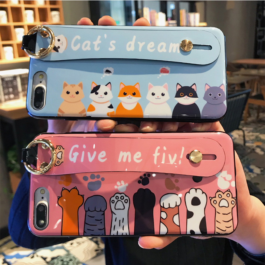 cat paw tpu case for iphone 7 8 6 6s plus X XR XS MAX cover cute cartoon wristband holder soft silicon phone bag capa