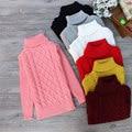 2015 новая мышь pure color зима мальчик девочка мода толстые Вязаные дна водолазки рубашки твердые высокий воротник свитера