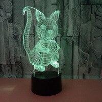 다람쥐 3d 램프 공장 도매 7 색 변경 터치 led 비주얼 테이블 램프 선물 분위기  데스크탑 3d 테이블 램프