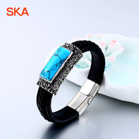 SKA Bangles Male Jewelry Personality Bracelet Pulsera Hombre Green Stone Leather Titanium Steel Bracelets For Men BC L008