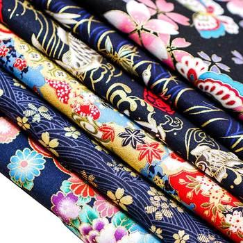 Gedrukt Brons Donkerblauw Katoen Stof Japanse Stijl Bloem Patroon Stof Voor Kimono Cheongsam En Diy Tas TJ8692-2