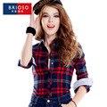 Británico camisa a cuadros de manga larga femenina 2016 del resorte 100% algodón de alta calidad para mujer 20 colores camisas muchachas de la manera causal tops