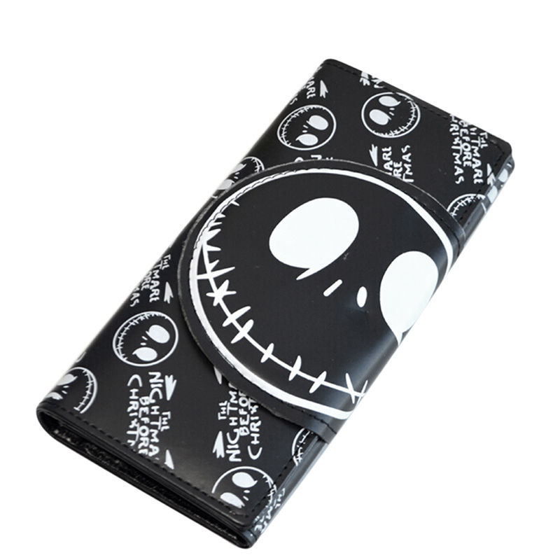2Colors New 18*8.5*2cm Long Comics Nightmare Wallets Unisex Thriller Movie Cartoon Jack Skull Purses PU Leather Clutch image