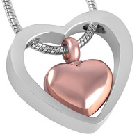 IJD8078 Cheap Wholesale Stainless Steel Cremation Ashes Femme Double Heart Cremation Jewelry In Pendant Necklaces For