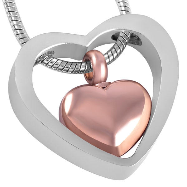 IJD8078 Big Heart With Small Heart Stainless Steel Human/Pet Ashes Keepsake Memorial Urn Jewelry Cremation Necklace Pendant