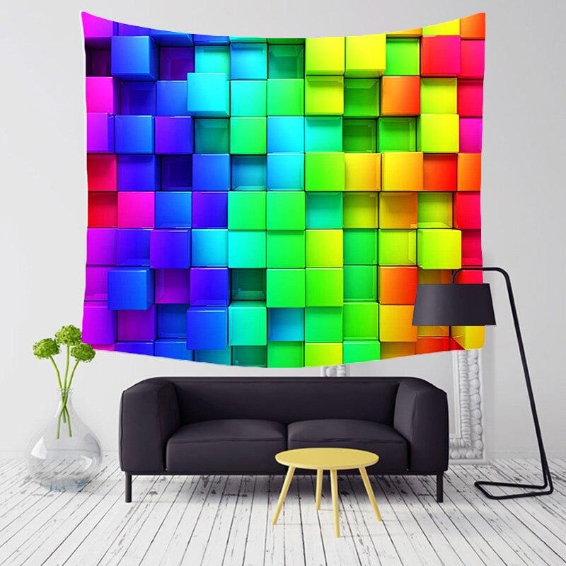 Comwarm Psychedelic Farbige Indische Geometrie Muster Polyester Tapisserie 3D Bunte Blöcke Strand Yoga Wandbehang Gobelin Decor