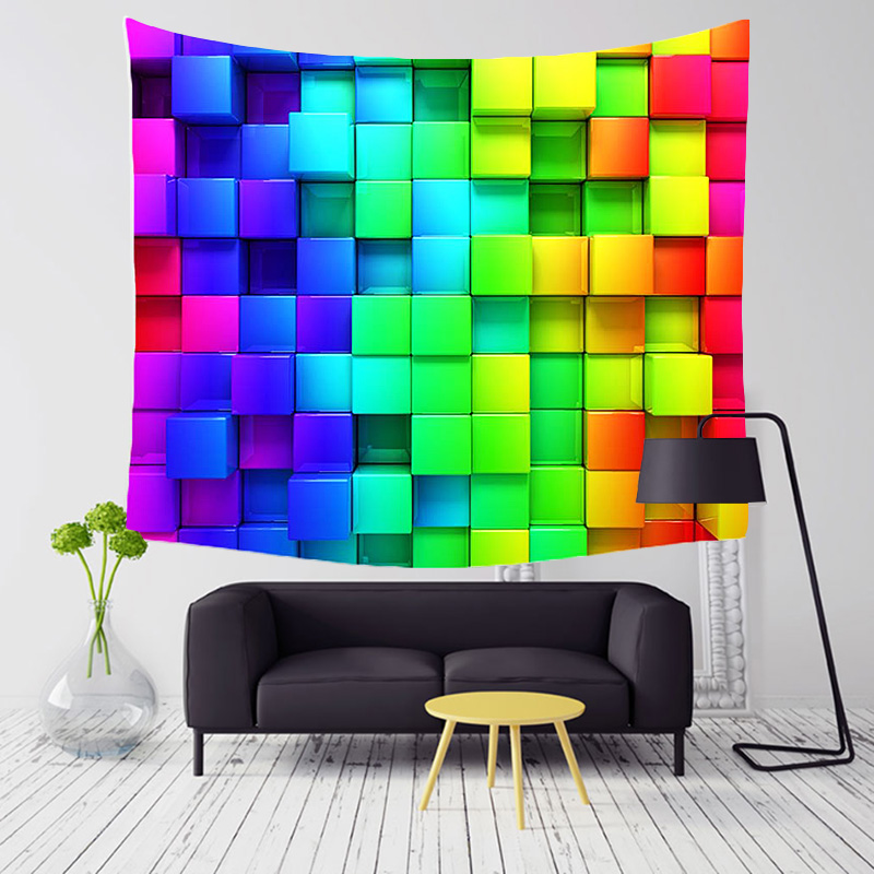 Comwarm Psychedelic Farbige Indische Geometrie Muster Polyester Tapisserie 3D Bunte Blöcke Strand Yoga Wandbehang Gobelin Decor