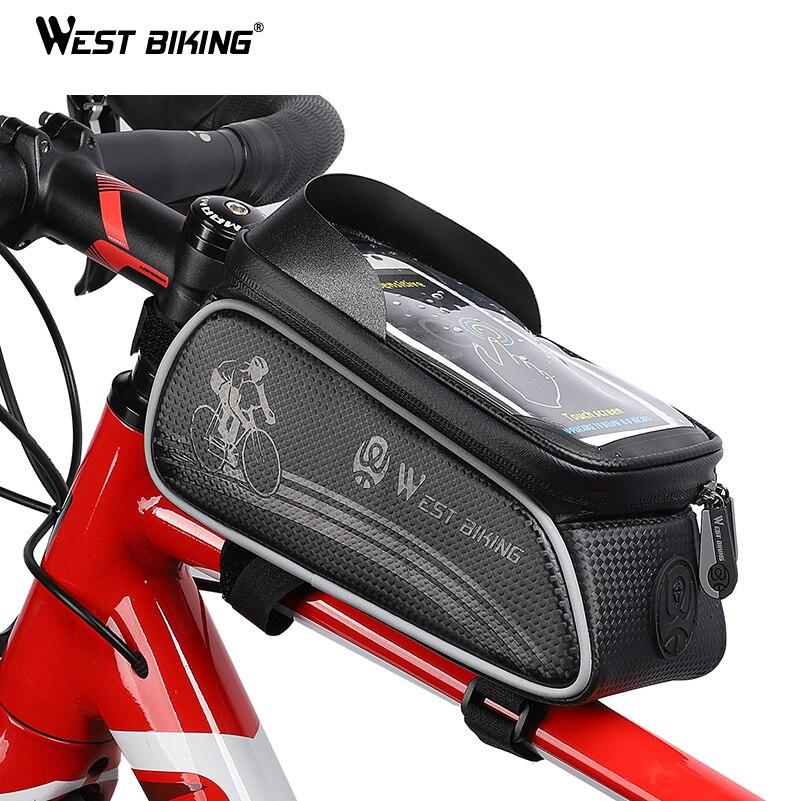 WEST BIKING Waterproof Bicycle <font><b>Bags</b></font> <font><b>Cycling</b></font> Top Front Tube Frame <font><b>Bag</b></font> Touch Screen 6.0 <font><b>Phone</b></font> Case Storage MTB Road Bike <font><b>Bag</b></font>