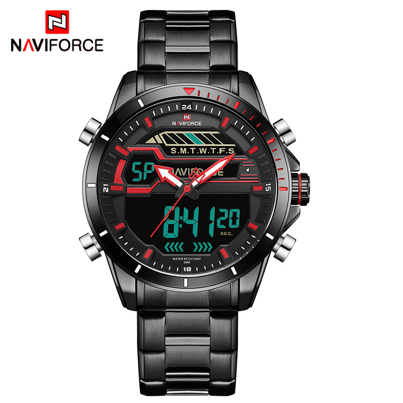 Men Sport Watches Men's Quartz Digital LED Clock Men Full Steel Army Military Waterproof Wrist Watch