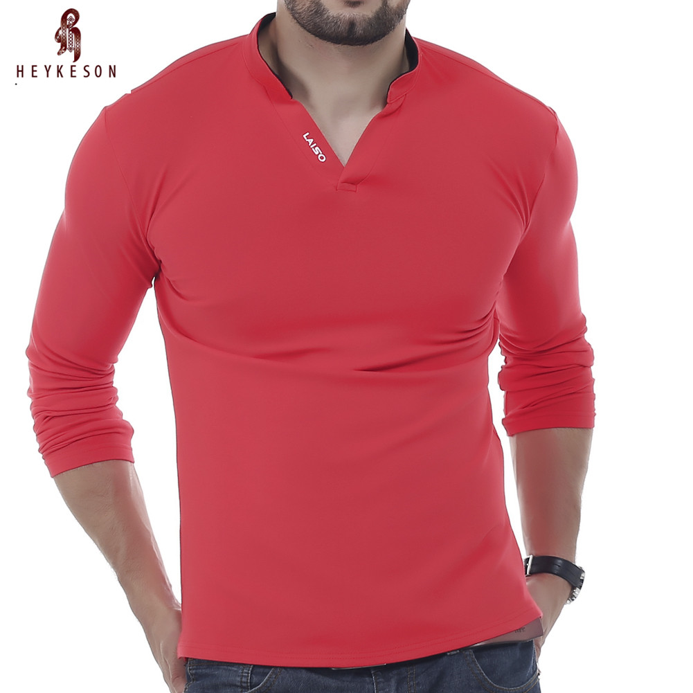HEYKESON Mens Polo Shirt Brands 2017 Male Long Sleeve Casual Slim Solid Letter Polos Men Shirt