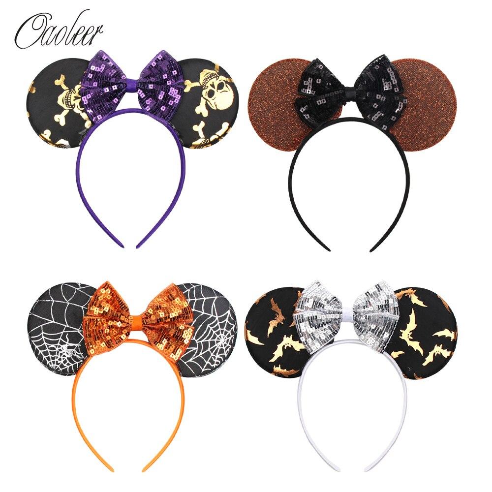 Oaoleer Hair Accessories Halloween Headbands for Girls Sequin Ears Hair Bands Pattern Printed Orange Hair Hoop for Kids   Headwear