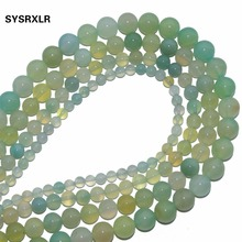 Wholesale Round Shape Grape Agat Green Natural Stone Beads For Jewelry Making DIY Bracelet Material 4 6 8 10 12 MM Strand 15