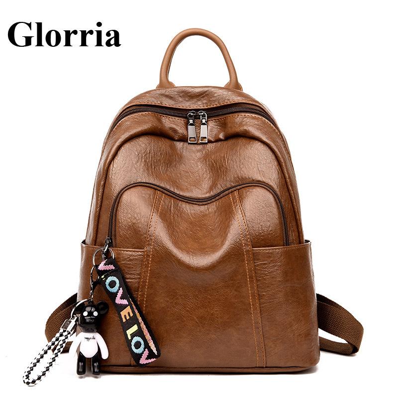 Glorria Women Leather Backpack for Teenager Girls Korean Bagpack Female anti  theft Kanken Bag Women Tassel Back Pack Big Mocila b160b79a1471f