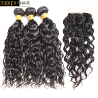 MORICHY Brazilian Water Wave Bundles with Closure Natural Color Remy Wet and Wavy Human Hair Weave 3 Bundles with Lace Closure