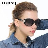 LDOFWJ Double Elliptical Design Glasses Retro Round Sunglasses Women Iconic Style Polarized Sun Glasses Pretty Sun