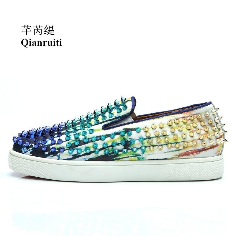 Qianruiti 2018 Autumn Men Printing Spike Sneaker Slip-on Flat Low Top Rivet Shoes  Men fffee1b63ad9