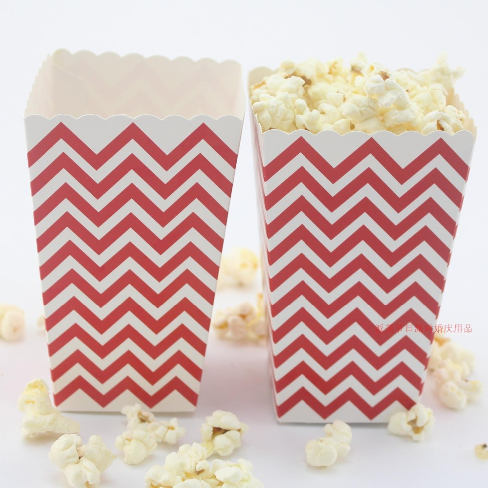 Free Shipping 24 X Red Polka Dot Popcorn Box Birthday Wedding Party ...