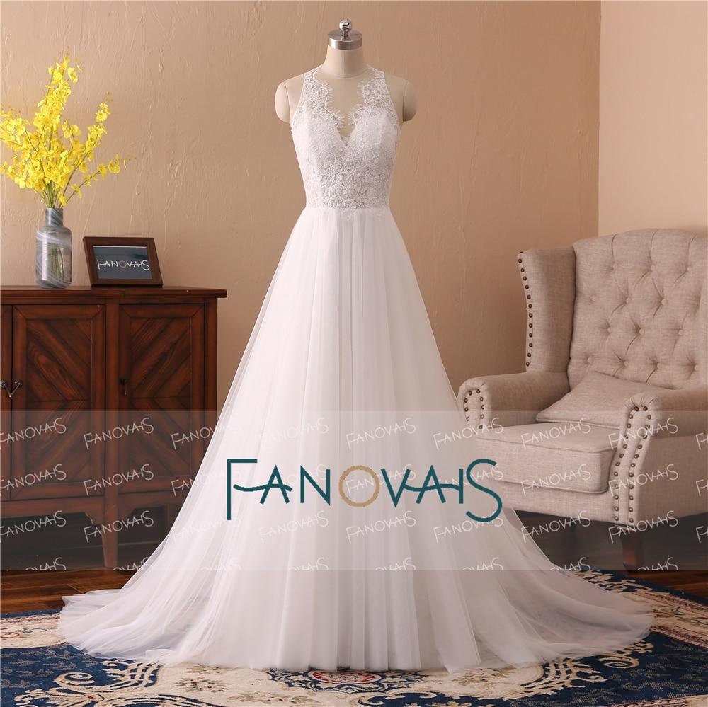 Simple Lace Wedding Dresses Lace V Neck A Line Bridal Gown 2018 ...