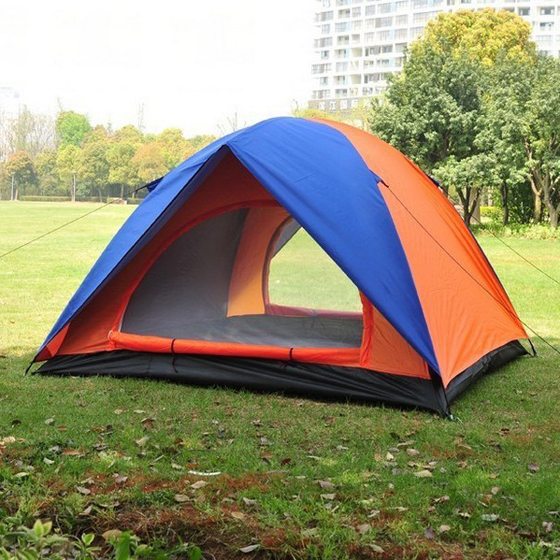 Double layer glass fiber poles waterproof two people tent orange blue 2m 1 5m outdoor tourism