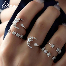 Trendy Shining Crystal Moon Star Ring Set Geometric Simple Style Rings for Women Girl Knuckle Ring Jewelry trendy simple style round star cuff ring for women