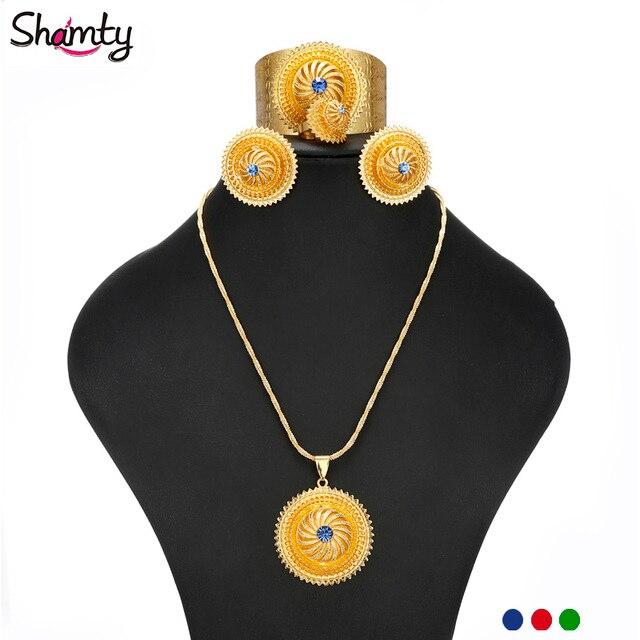 Habasha style BLUE RED GREEN STONE Ethiopian Jewelry Bride Wedding sets gold plated African Nigeria/Eritrea/Kenya Gift A300055