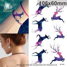 Harajuku Waterproof Temporary Tattoos For Women Beautiful Colors Run Deer Design Flash Tattoo Sticker RC2262
