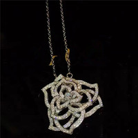 Classic Brand Pure 925 Sterling Silver Jewelry For Women Wedding Jewel Big Pendant Flower Necklace Big Flower Charm Rose Pendant
