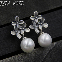 S925 Sterling-Silver-Jewelry Flower Shell Pearl Sterling Silver Jewelry Dangle Drop Earring For Women Korean 13mm TYC197