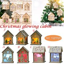 Christmas Decoration Small Wooden House Shape Ornament With LED Night Christmas Tree Pendant WindowFestive Atmosphere