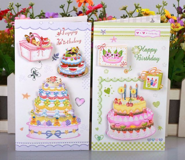 Free ship1lot24pcNew model birthday cake stereo message card