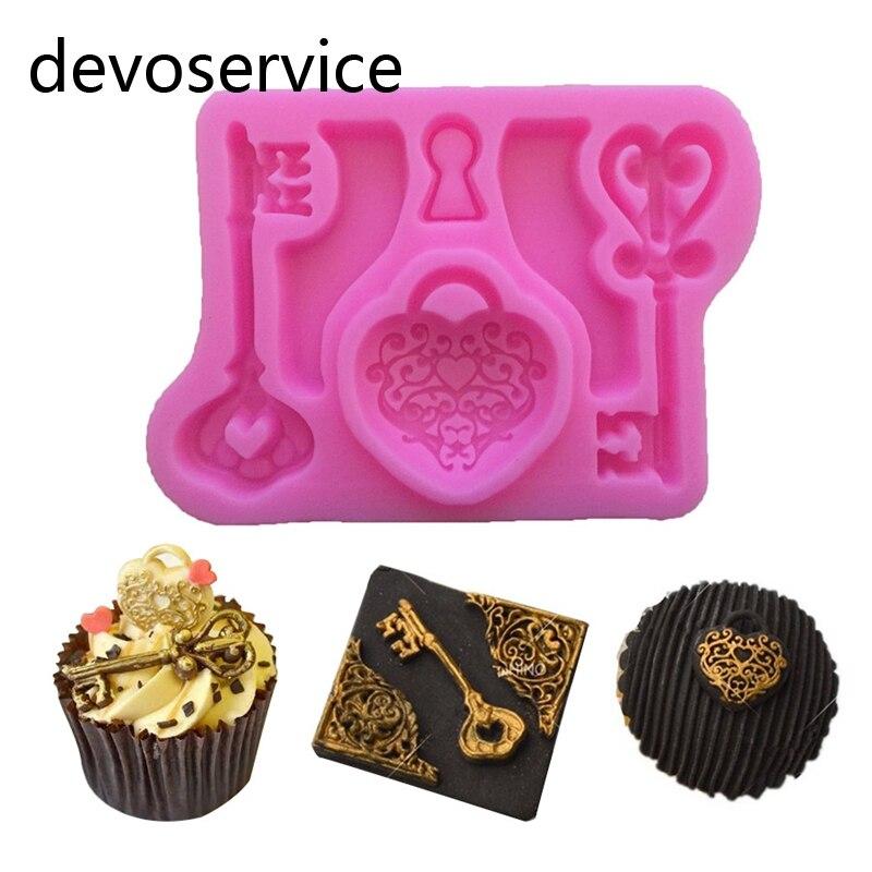 Vintage širdies raktas Silikono Gumpaste pelėsių tortas Dekoravimo - Virtuvė, valgomasis ir baras - Nuotrauka 1