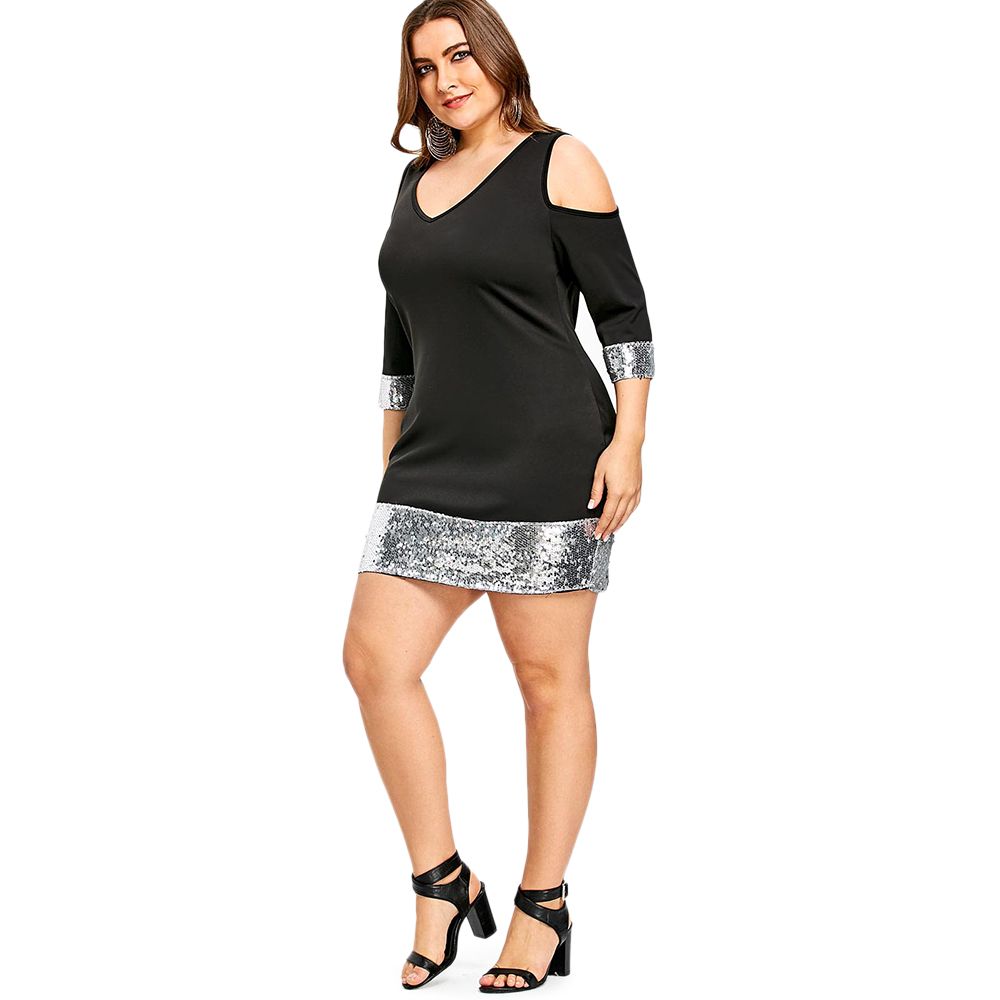 Wipalo Women Sexy V Neck Party Dress Plus Size 5XL Sequined Trim Cold  Shoulder Bodycon Three Quarter Sleeve Mini Dress Vestidos-in Dresses from  Women s ... 3a56935367f9
