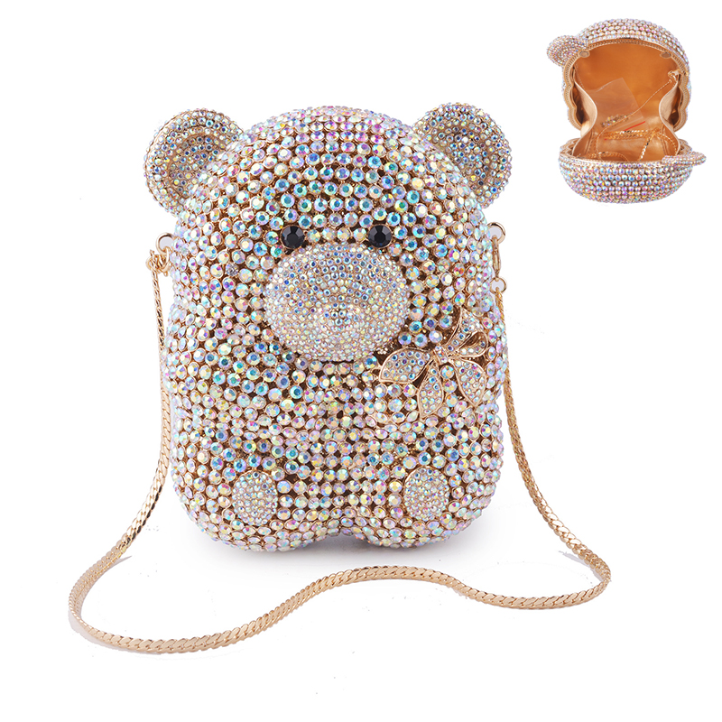 Female Bag Chain Clutch Crystal Handbags Clutches-Bags Party Purse Animal-Shape Evening