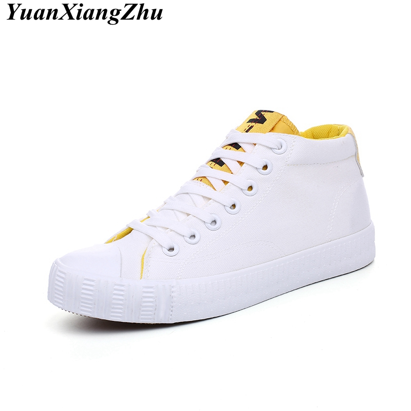 Men White High-Top Canvas Shoes 2018 New Fashion Hip-Hop Casual Men Shoes Brand Breathable Lace-Up Men's Vulcanized Shoes HOT gran epos 2017 new mens casual shoes man flats breathable fashion low high top shoes men hip hop dance shoes for male zapato