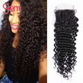 Cheap 7A Front Closure Lace Wig Top Closure Free Part Size 4''x4'' Rosa Unprocessed Brazilian Virgin Hair Deep Curly 1pc Lot 1B